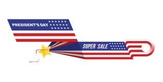 美国的愉快的总统Day 模板与文本和美国旗子的设计元素 库存照片