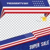 美国的愉快的总统Day 模板横幅与文本和美国旗子的设计元素 免版税库存图片
