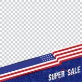 美国的愉快的总统Day 模板横幅与文本和美国旗子的设计元素 库存图片