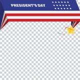 美国的愉快的总统Day 模板横幅与文本和美国旗子的设计元素 库存照片