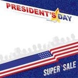 美国的愉快的总统Day 模板横幅与文本和美国旗子的设计元素 图库摄影