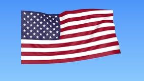 美国的挥动的旗子,无缝的圈 确切大小,蓝色背景 被设置的所有国家的地区 与阿尔法的4K ProRes 皇族释放例证