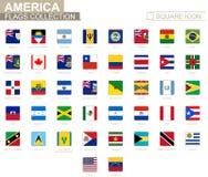 美国的方形的旗子 从安圭拉向委内瑞拉 向量例证