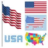 美国的旗子和地图 库存例证