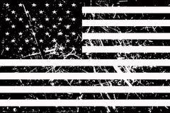 美国的旗子是黑白和破旧的 向量例证