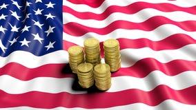 美国的旗子有金黄Bitcoin堆的 库存图片