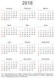 美国的日历2018年-在星期天,星期开始 免版税库存照片