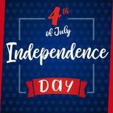 美国的美国独立日贺卡7月第4,蓝星 库存照片