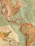 美国的老映射 免版税库存照片
