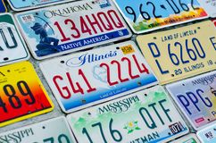 美国的车辆注册板材 库存图片