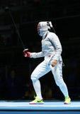 美国的Ibtihaj穆罕默德在里约2016年奥运会的妇女` s马刀队竞争在Carioca竞技场3 库存照片