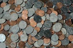美国硬币堆 免版税库存图片