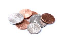 美国硬币堆 免版税库存照片
