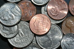 美国硬币混合 库存照片