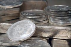 美国硬币老鹰银 库存图片