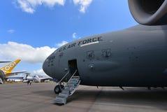美国空军波音C-17 Globemaster III军事在新加坡Airshow运输在显示的航空器 免版税库存图片