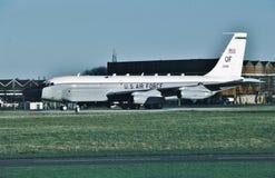 美国空军波音RC-135V 64-14844很好完成的另一个使命 免版税库存图片