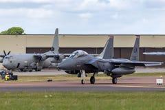 美国空军队美国空军麦克当诺道格拉斯公司F-15E罢工老鹰91-0335从494th战斗中队,第48个战斗机翼 库存照片