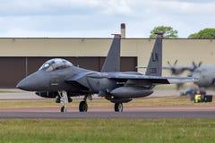美国空军队美国空军麦克当诺道格拉斯公司F-15E罢工老鹰91-0335从494th战斗中队,第48个战斗机翼 免版税库存图片