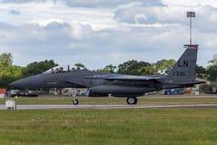 美国空军队美国空军麦克当诺道格拉斯公司F-15E罢工老鹰91-0335从494th战斗中队,第48个战斗机翼 免版税库存照片