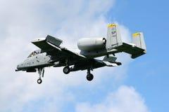 美国空军队A-10雷电II喷气式歼击机 库存照片