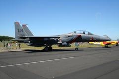 美国空军队F-15罢工老鹰喷气式歼击机 免版税图库摄影