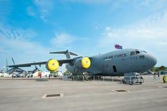 美国空军货机在新加坡Airshow 2014年 库存图片