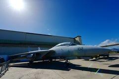 美国空军F-14雄猫在显示的喷气式歼击机在珍珠Habor和平的航空博物馆 免版税库存照片
