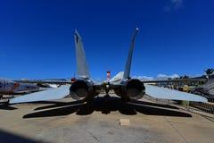 美国空军F-14雄猫在显示的喷气式歼击机在珍珠Habor和平的航空博物馆 图库摄影