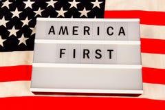 美国第一个口号 免版税库存照片