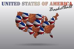 美国篮球地图  库存照片