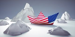 美国纸小船处于危险中 向量例证