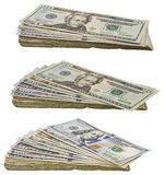 美国纸币堆现金被隔绝的被堆积的票据拼贴画 免版税图库摄影