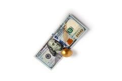 美国美元和一个金黄鸡蛋 一百元钞票和一个金黄鸡蛋 库存照片