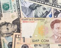 美国美元和吉尔吉斯金钱 免版税库存照片