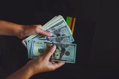 美国美元在手上,计数金钱的妇女 免版税库存照片