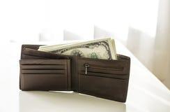 美国美元在棕色皮革钱包里包装 免版税图库摄影