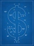 美国美元标志图纸 免版税图库摄影