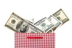 美国美元礼品查出的程序包红色 免版税库存图片