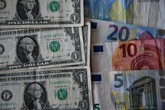 美国美元VERS欧元 库存照片