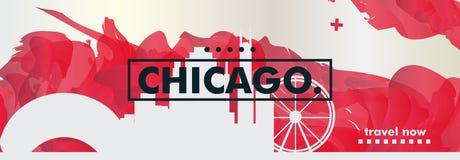 美国美利坚合众国芝加哥地平线城市梯度vecto 向量例证