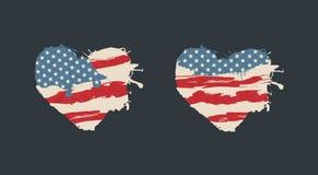 美国美国减速火箭的心脏 美国国旗 库存图片