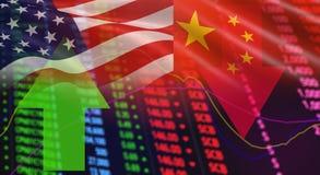 美国美国和中国旗子股票市场交换分析 库存图片