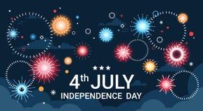 美国美国独立日假日7月4日横幅贺卡 免版税库存图片