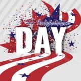 美国美国独立日 与挥动的镶边旗子和满天星斗的样式的抽象美国背景 免版税库存图片