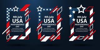 美国美国独立日 第4 7月套文本的框架 现代艺术图表 动态垂直的框架,时髦的背景 Elemen 免版税图库摄影