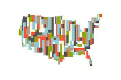 美国美国长方形抽象地图 10个背景设计eps技术向量 向量例证