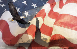 美国老鹰标志蒙太奇 免版税库存照片
