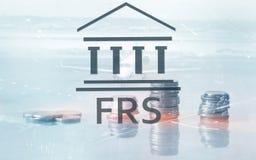 美国联邦储备系统 FRS 企业在抽象背景的财务概念 向量例证