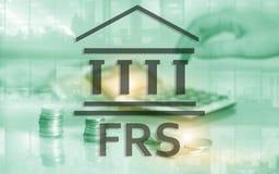 美国联邦储备系统 FRS 企业在抽象背景的财务概念 库存例证